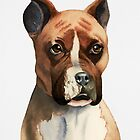Boxer Dog Watercolor Painting by namibear