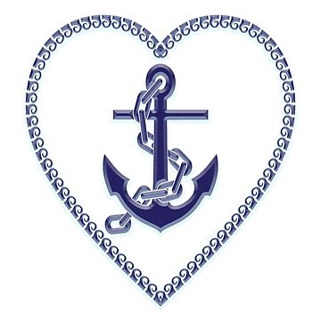Nautical Heart, Anchor, Chains, Heart, Blue by TOMSREDBUBBLE