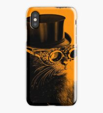 Steampunk Mojo the cat in goggles and a top hat iPhone Case/Skin