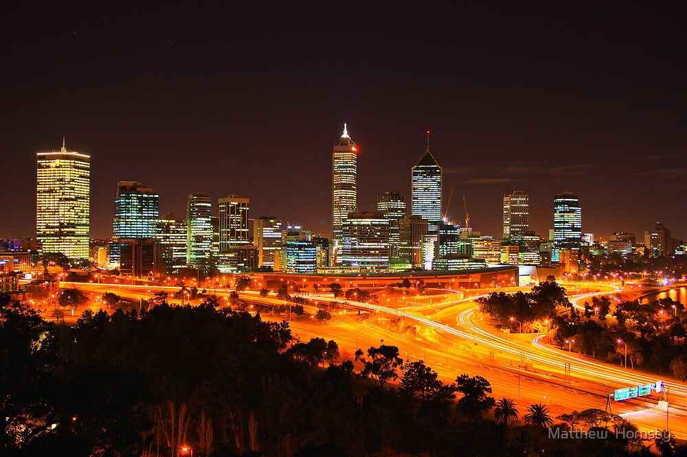 Perth at night by Matthew  Hornsby