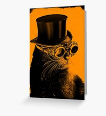Steampunk Mojo the cat in goggles and a top hat Greeting Card