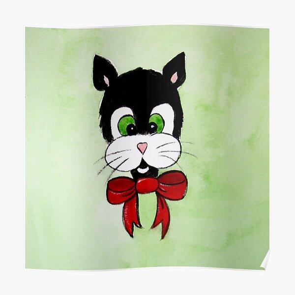 Tuxedo Cat Cartoon Poster