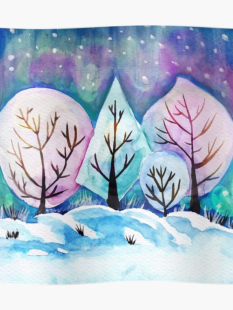 Winter Forest Painting Watercolor Winter Art Snow Art Winter Season Poster