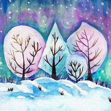 Winter Forest Painting, Watercolor Winter Art, Snow Art Winter Season by EarthlyIndigo
