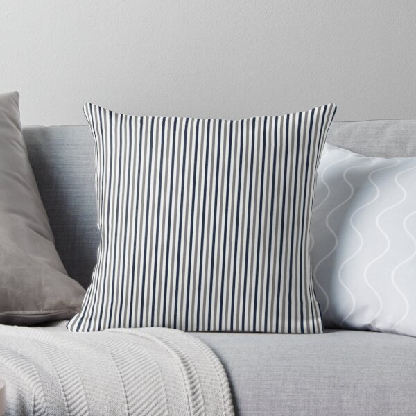 Navy White and Grey Vertical Stripes Throw Pillow