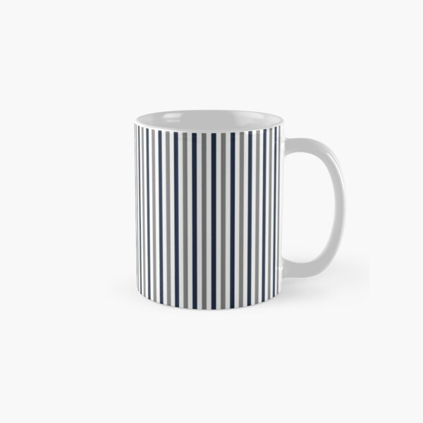 Navy White and Grey Vertical Stripes Classic Mug