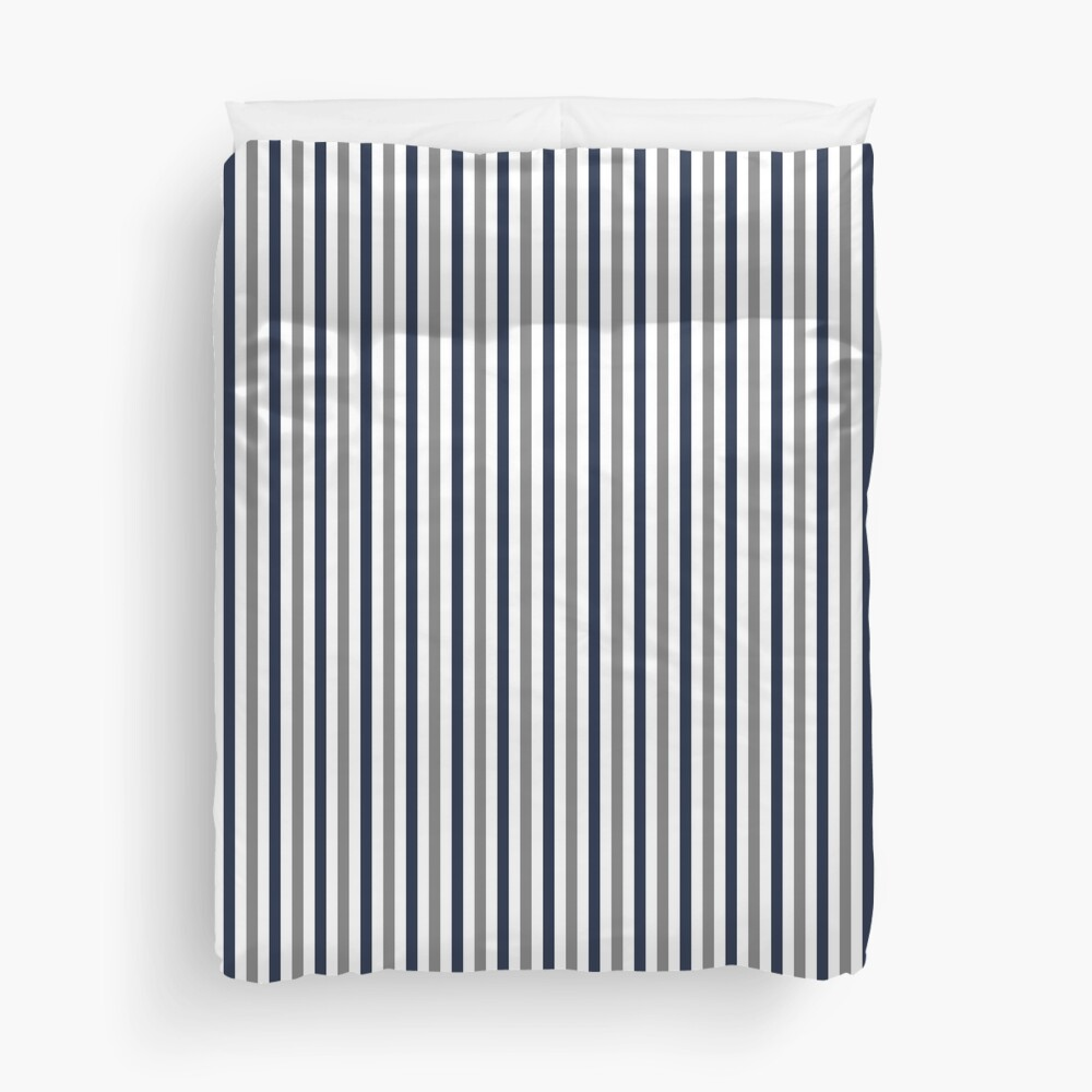 Navy White and Grey Vertical Stripes Duvet Cover