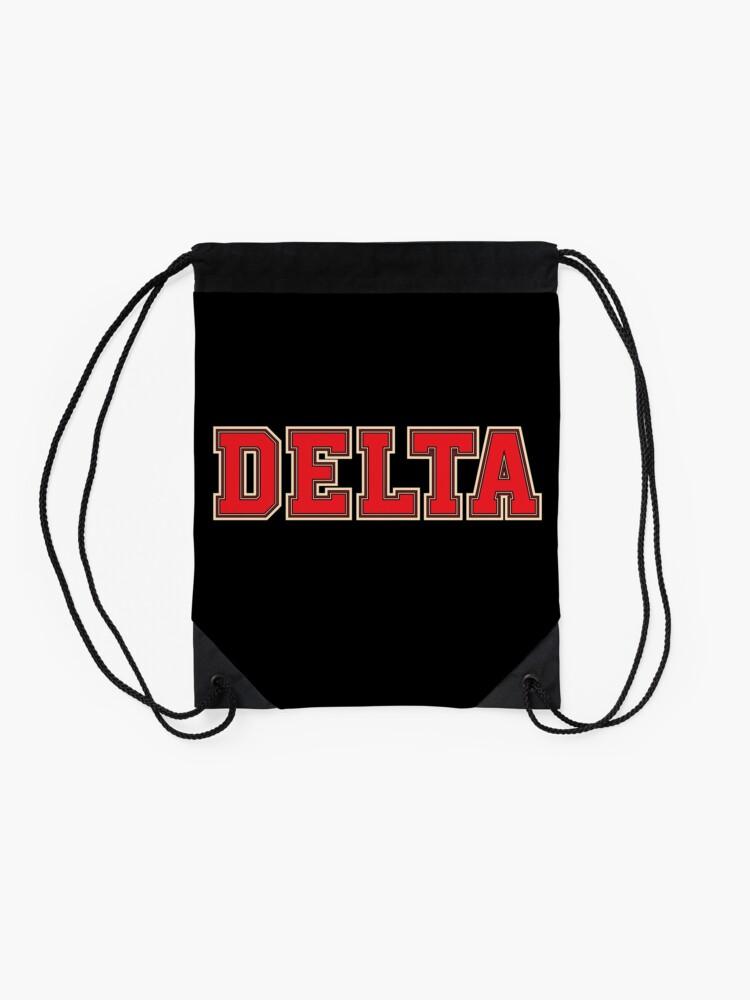 Alternative Ansicht von Delta Jersey Theta Schriftart Turnbeutel