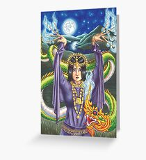 9 of Wands Asian Dragon Lady Tarot Art Greeting Card