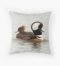 A Pair of Hooded Merganser Ducks Throw Pillow