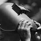 Viewing Solar Eclipse Through Welder's Mask by Laurie Minor