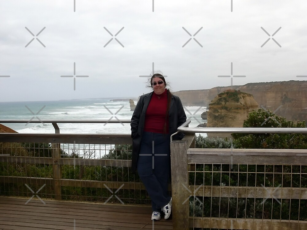 Me, windblown hair included, at the 12 Apostles by Sandra Chung