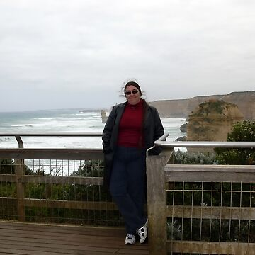 Me, windblown hair included, at the 12 Apostles by Sandra