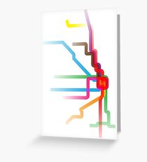 Chicago CTA Rainbow Map Greeting Card