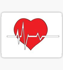 Red heart with ekg on white - medical design Sticker