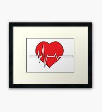 Red heart with ekg on white - medical design Framed Print