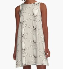Skull and bones drawing A-Line Dress