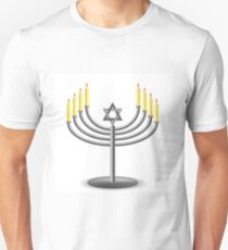 Menorah with Burninng Candles Isolated on White Background T-Shirt
