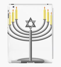 Menorah with Burninng Candles Isolated on White Background iPad Case/Skin