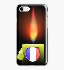 Burning Candle and Shield Isolated on Dark Background iPhone Case/Skin