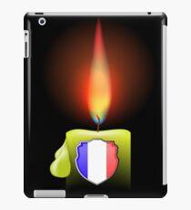 Burning Candle and Shield Isolated on Dark Background iPad Case/Skin