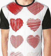 Set of Red Hearts Isolated on White Background Graphic T-Shirt