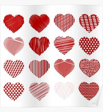 Set of Red Hearts Isolated on White Background Poster