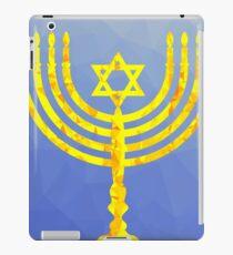 Yellow Mosaic Menorah Isolated on Blue Polygonal Background iPad Case/Skin
