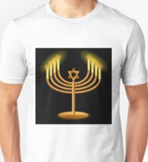 Gold Menorah with Burning Candles Isolated on Dark Background T-Shirt