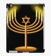 Gold Menorah with Burning Candles Isolated on Dark Background iPad Case/Skin