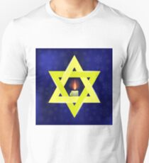 Yellow Star of David and Burning Candles Isolated on Blue Snowflakes Background T-Shirt