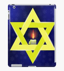 Yellow Star of David and Burning Candles Isolated on Blue Snowflakes Background iPad Case/Skin
