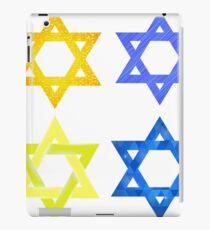 Set of Yellow and Blue Mosaic Stars of David Isolated on White Background iPad Case/Skin