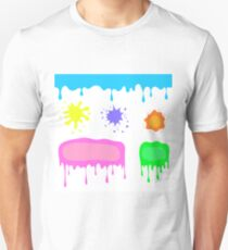 Set of Colorful Blots Isolated on White Background. Colorful Watercolor Stains and Splashes. Colored Splatters Collection T-Shirt