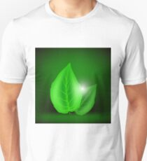 Green Leaves Isolated on Soft Green Background. Eco Icon with Green Leaves. T-Shirt