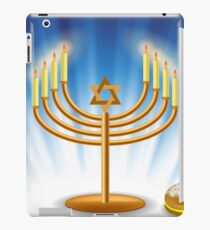 Menorah and Red Jelly Donat for Hanukkah on Blue Wave Background iPad Case/Skin