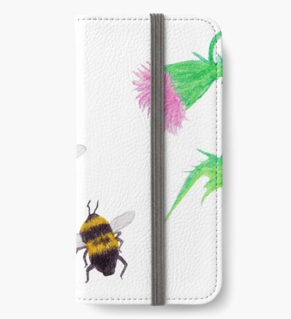 Bumblebees and Thistles iPhone Wallet