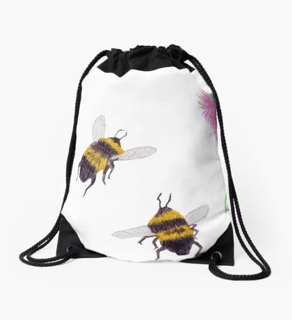 Bumblebees and Thistles Drawstring Bag