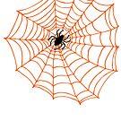 Spider Web Pattern - Black on Bright Orange - Spiderweb pattern by Cecca Designs by Cecca-Designs