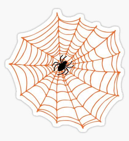Spider Web Pattern - Black on Bright Orange - Spiderweb pattern by Cecca Designs Sticker