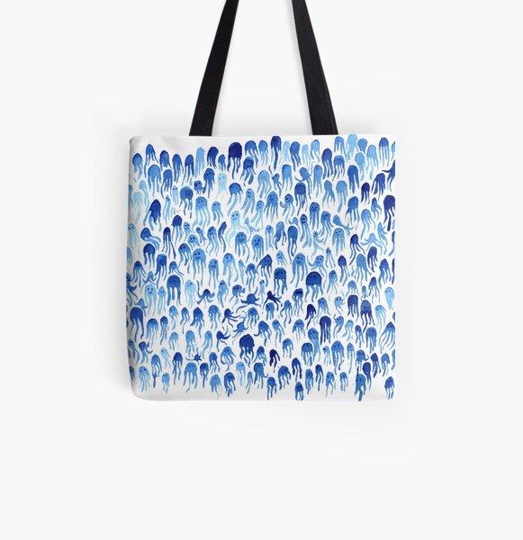 Blaue Cuthulu Kraken-Muster-Beschaffenheit nett und lustig Allover-Print Tote Bag