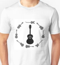 Set of Guitars Silhouettes Isolated on White Background. Guitar Frame. T-Shirt