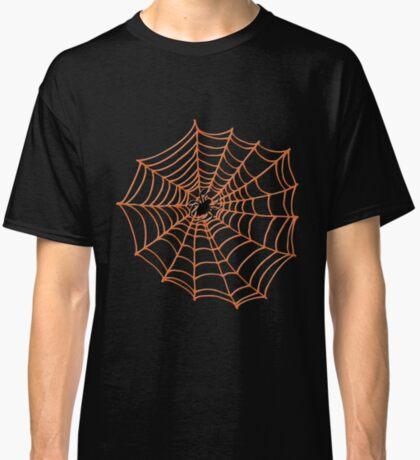 Spider Web Pattern - Black on Bright Orange - Spiderweb pattern by Cecca Designs Classic T-Shirt