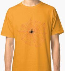 Spider Web Pattern - Black on Bright Orange Classic T-Shirt