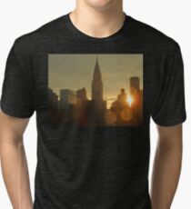 Sunset Skyline - Chrysler Building New York Tri-blend T-Shirt