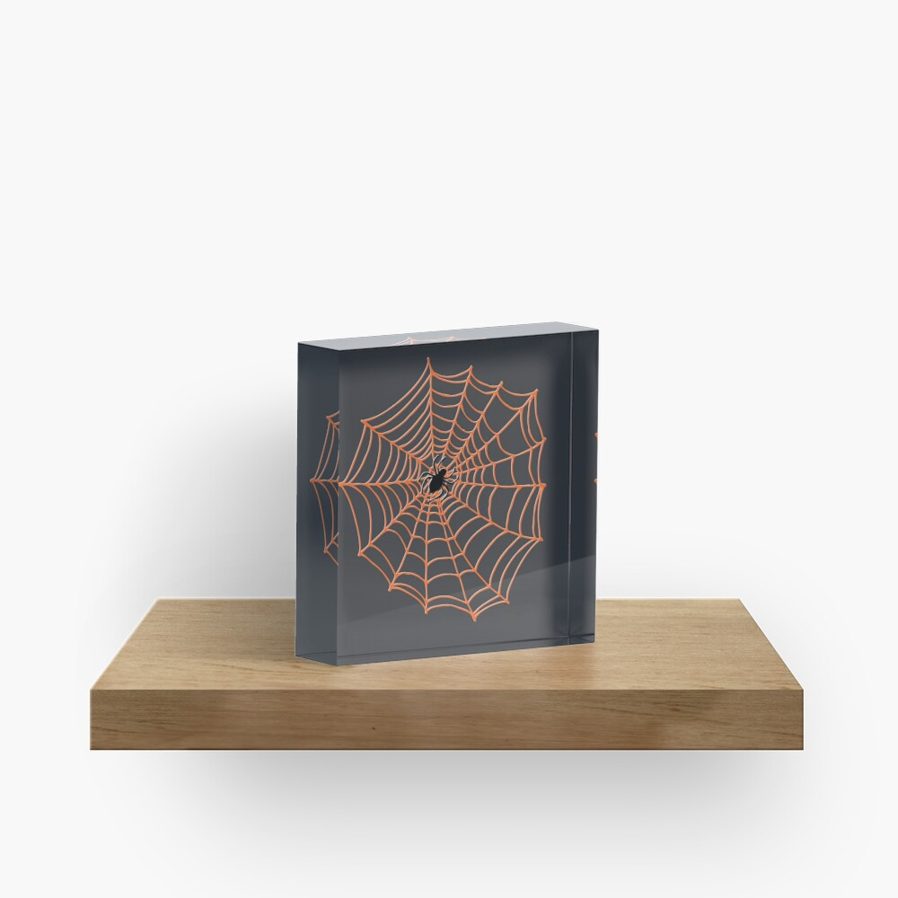 Spider Web Pattern - Black on Bright Orange - Spiderweb pattern by Cecca Designs Acrylic Block