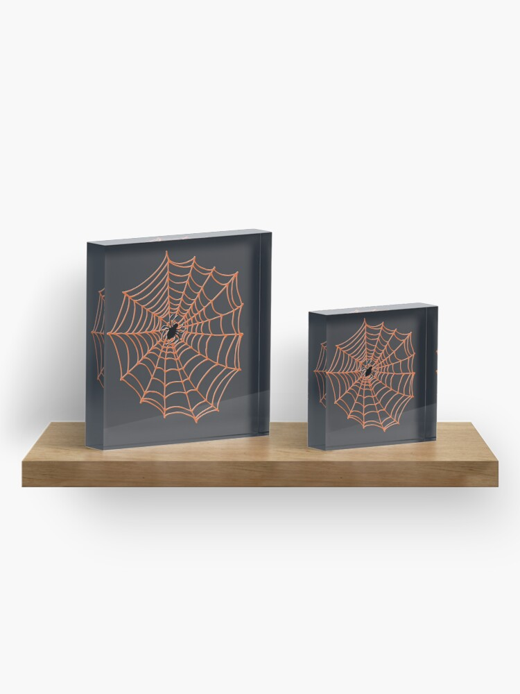Alternate view of Spider Web Pattern - Black on Bright Orange - Spiderweb pattern by Cecca Designs Acrylic Block