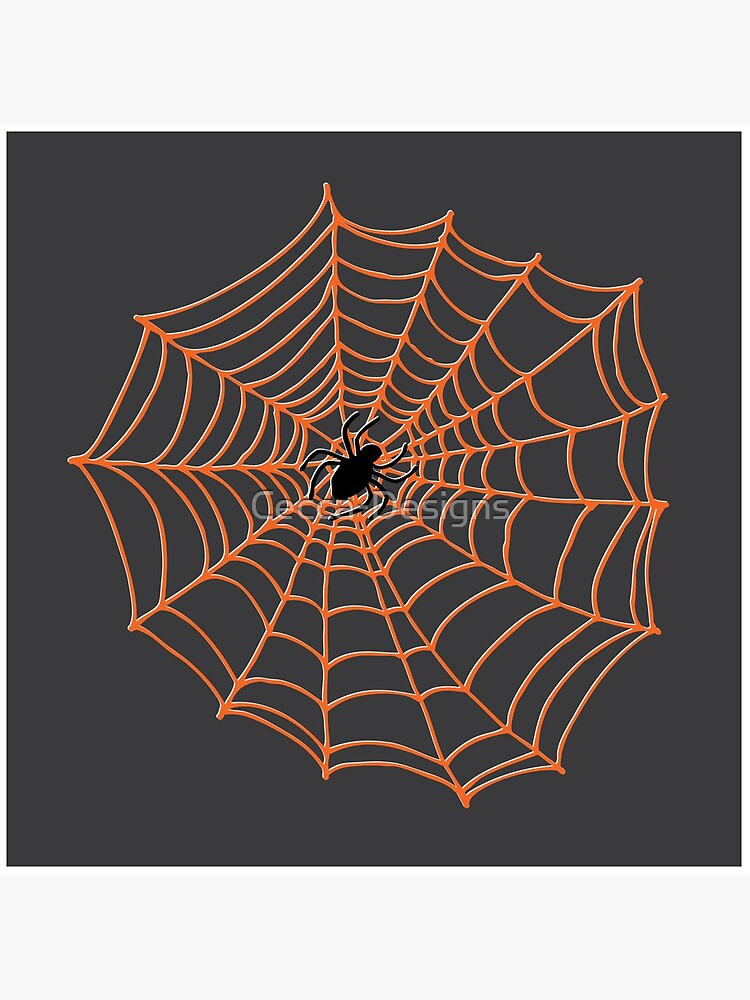 Spider Web Pattern - Black on Bright Orange - Spiderweb pattern by Cecca Designs by Cecca-Designs