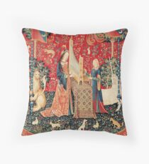 UNICORN AND LADY PLAYING ORGAN WITH ANIMALS , Hearing Throw Pillow