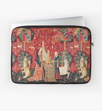 UNICORN AND LADY PLAYING ORGAN WITH ANIMALS , Hearing Laptop Sleeve